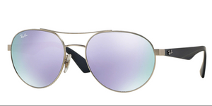 Ray Ban RB3536 019/4V 55 55mm Matte Silver Lilac Purple Flash Mirror