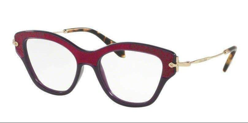 Miu Miu Dark Violet Purple Gold Temple MU 07OV U6A1O1 52 mm Round Square