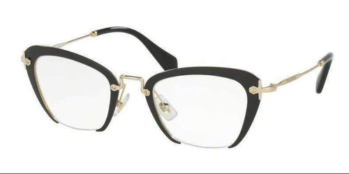 Miu Miu Black Gold Temple MU 54OV 1AB1O1 49 mm Square Rectangle