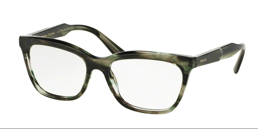 Prada PR 24SV UEP1O1 53 Striped Grey Green Square, Cateye Eyeglasses