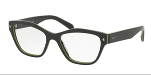 Prada PR 27SV UR01O1 53 Grey Yellow Square, Cateye Eyeglasses
