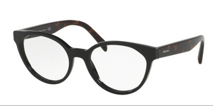 Prada PR 01TV 1AB1O1 53 Black Round, Cateye Eyeglasses