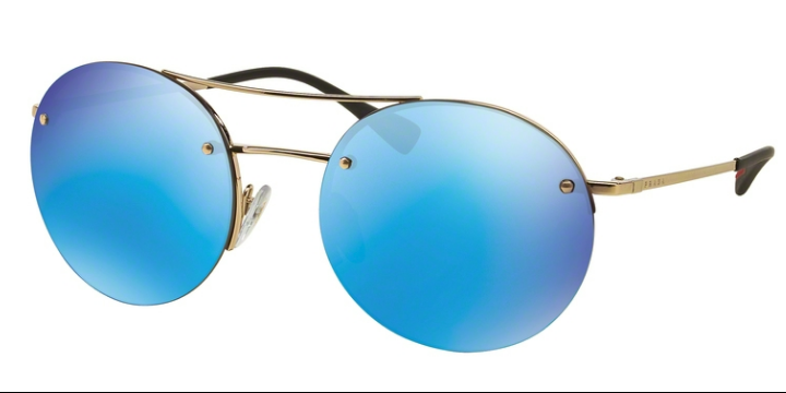 Prada Sport PS 54RS ZVN5M2 56 Gold Blue Mirror Round Metal Rimless