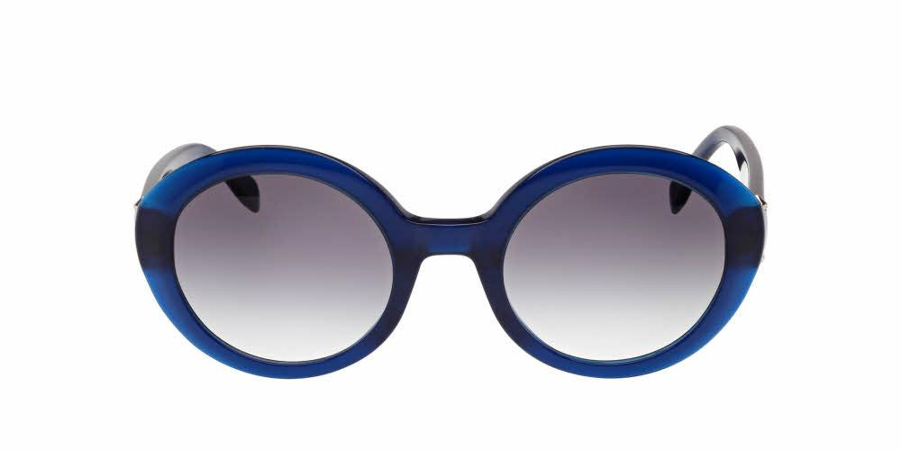 Angled View of Alexander McQueen Women's Sunglasses - AM0002S-003 51 OPAL SILVER GRADIENT BLUE CR 39 Acetate, Metal