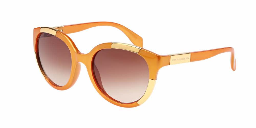 Front and Side View of Alexander McQueen Women's Sunglasses - AM0007S-003 52 ORANGE PEARL GOLD GRADIENT BROWN CR 39 Injection, Metal
