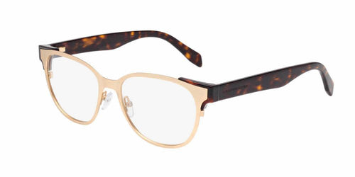 Front and Side View of Alexander McQueen Men's Eyeglasses - AM0013O-001 53 MATTE GOLD SHINY TRANSPARENT Metal, Acetate, Injection