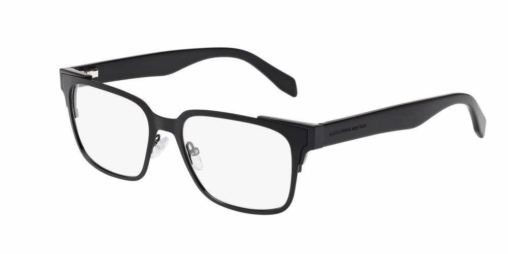 Front and Side View of Alexander McQueen Men's Eyeglasses - AM0014O-001 53 MATTE BLACK SHINY TRANSPARENT Metal, Acetate, Injection