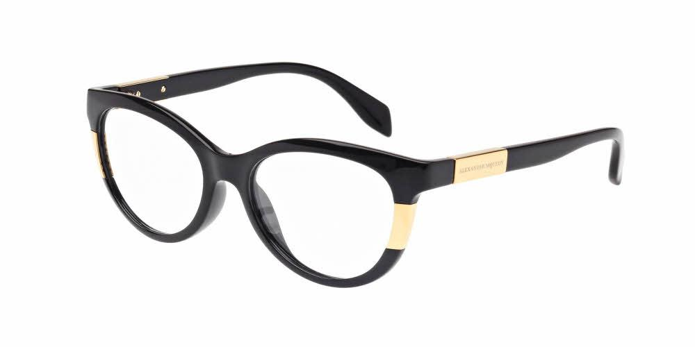 Front and Side View of Alexander McQueen Women's Eyeglasses - AM0009O-001 51 SHINY BLACK GOLD TRANSPARENT Injection, Metal, Acetate