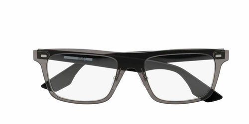 Front and Side View of McQ Unisex Eyeglasses - MQ0024O-001 53 SOLID SMOKE GREY OPAQUE TRANSPARENT Injection, Acetate