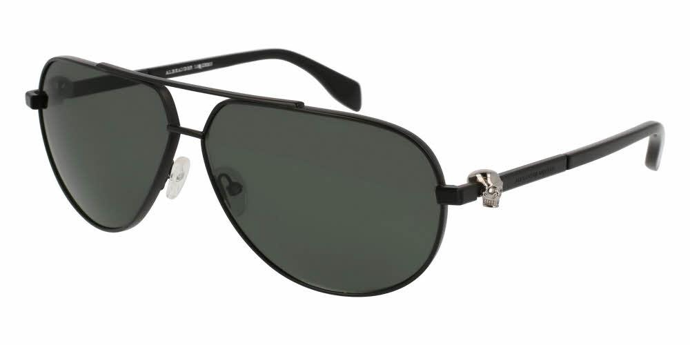 Angled View of Alexander McQueen Unisex Sunglasses - AM0018S-006 63 MATTE BLACK RUTHENIUM PLATINUM SILVER GREY SMOKE NYLON Metal, Acetate