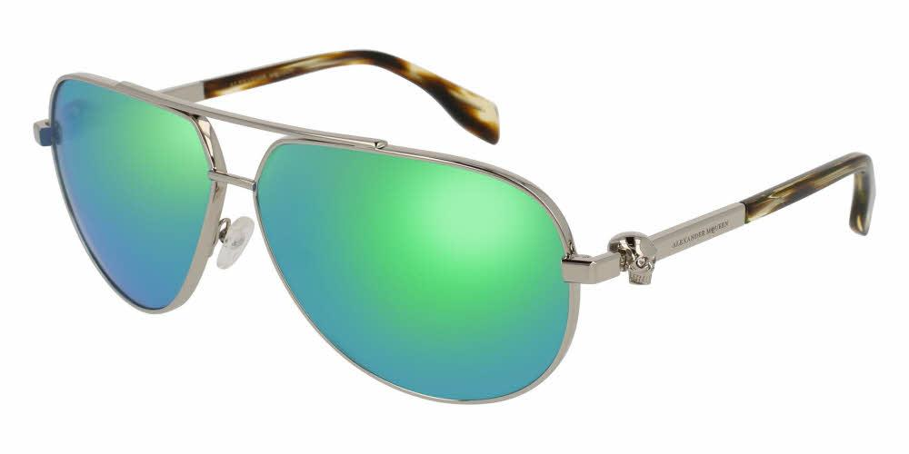 Angled View of Alexander McQueen Unisex Sunglasses - AM0018S-008 63 SHINY SILVER SOLID GREY MIRROR GREEN NYLON Metal, Acetate