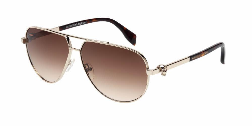 Front and Side View of Alexander McQueen Unisex Sunglasses - AM0018SA-002 61 SHINY GOLD GRADIENT BROWN NYLON Metal, Acetate