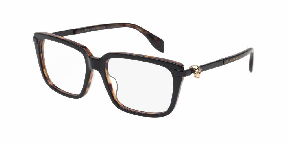 Front and Side View of Alexander McQueen Men's Eyeglasses - AM0022O-001 54 SHINY BLACK HAVANA GOLD TRANSPARENT Acetate, Metal