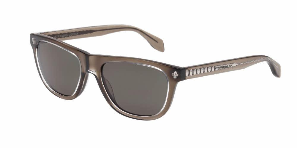 Angled View of Alexander McQueen Men's Sunglasses - AM0023S-003 53 CRYSTAL TRANSPARENT MUD BROWN SOLID GREEN CR 39 Acetate