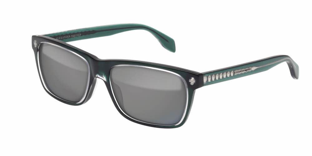 Angled View of Alexander McQueen Men's Sunglasses - AM0025S-003 57 CRYSTAL TRANSPARENT GREEN SOLID GREY MIRROR FLASH SILVER CR 39 Acetate