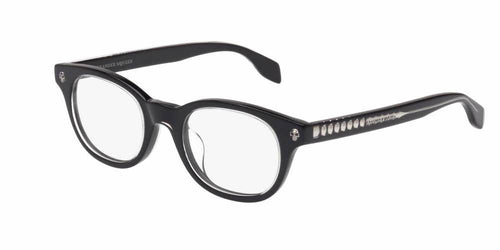 Front and Side View of Alexander McQueen Men's Eyeglasses - AM0027OA-001 47 SHINY BLACK CRYSTAL TRANSPARENT Acetate
