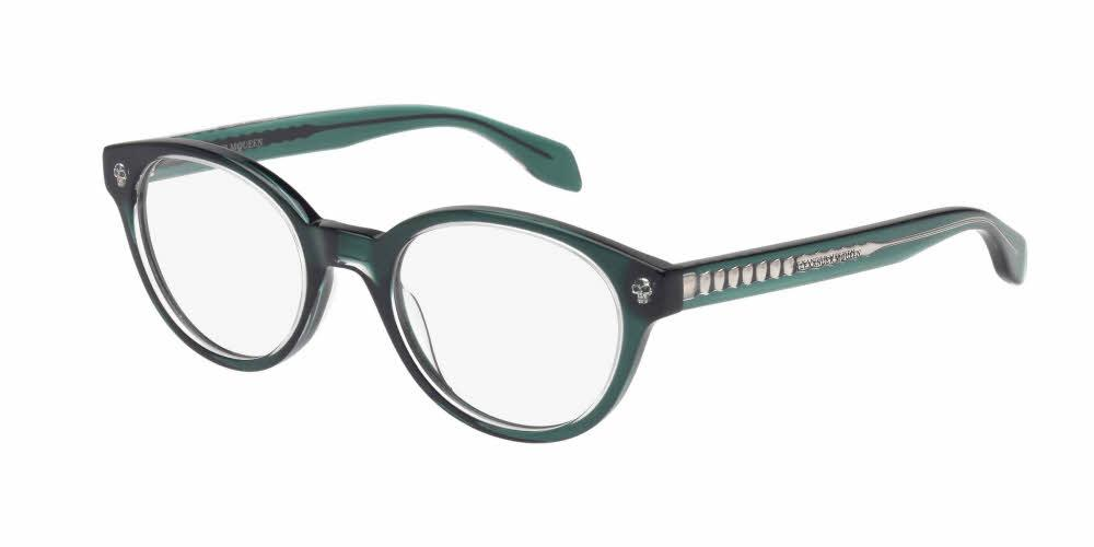 Angled View of Alexander McQueen Women's Eyeglasses - AM0028O-003 49 CRYSTAL GREEN CRYSTAL TRANSPARENT Acetate