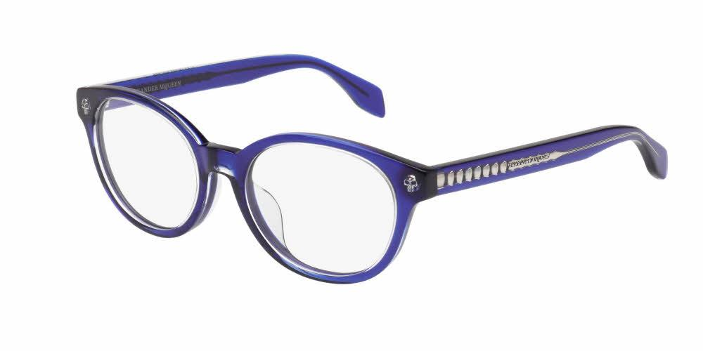 Angled View of Alexander McQueen Women's Eyeglasses - AM0028OA-005 50 CRYSTAL TRANSPARENT BLUE Acetate