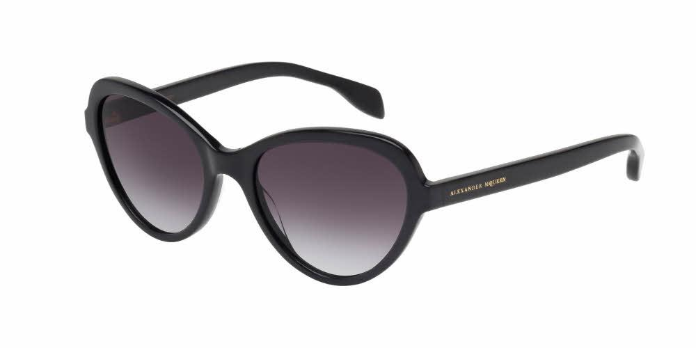 Front and Side View of Alexander McQueen Women's Sunglasses - AM0029S-001 51 SHINY BLACK GRADIENT GREY CR 39 Acetate