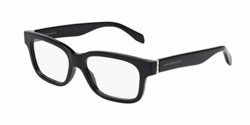 Angled View of Alexander McQueen Men's Eyeglasses - AM0038O-002 53 SHINY BLACK SILVER TRANSPARENT Acetate