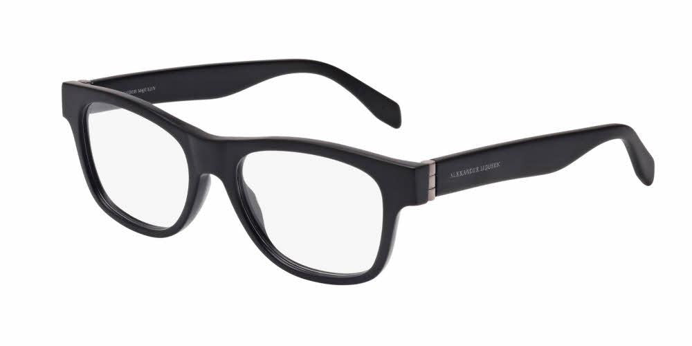 Front and Side View of Alexander McQueen Men's Eyeglasses - AM0039O-001 52 MATTE BLACK RUTHENIUM PLATINUM SILVER TRANSPARENT Acetate
