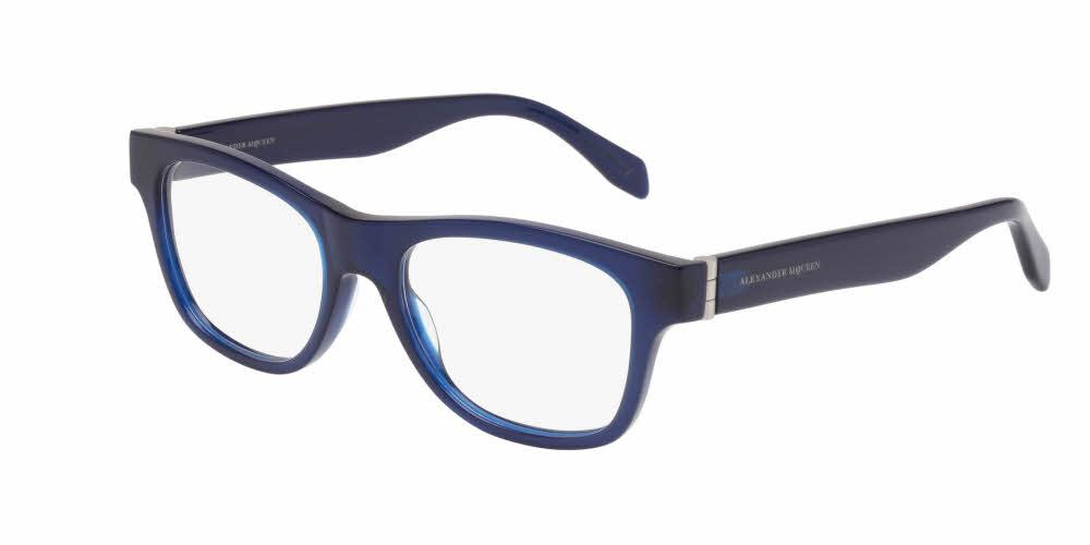 Angled View of Alexander McQueen Men's Eyeglasses - AM0039O-004 52 OPALE BLUE SILVER TRANSPARENT Acetate