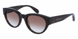 Angled View of Alexander McQueen Women's Sunglasses - AM0054S-003 51 SHINY CLASSIC HAVANA AVANA SHADED BROWN CR 39 Acetate