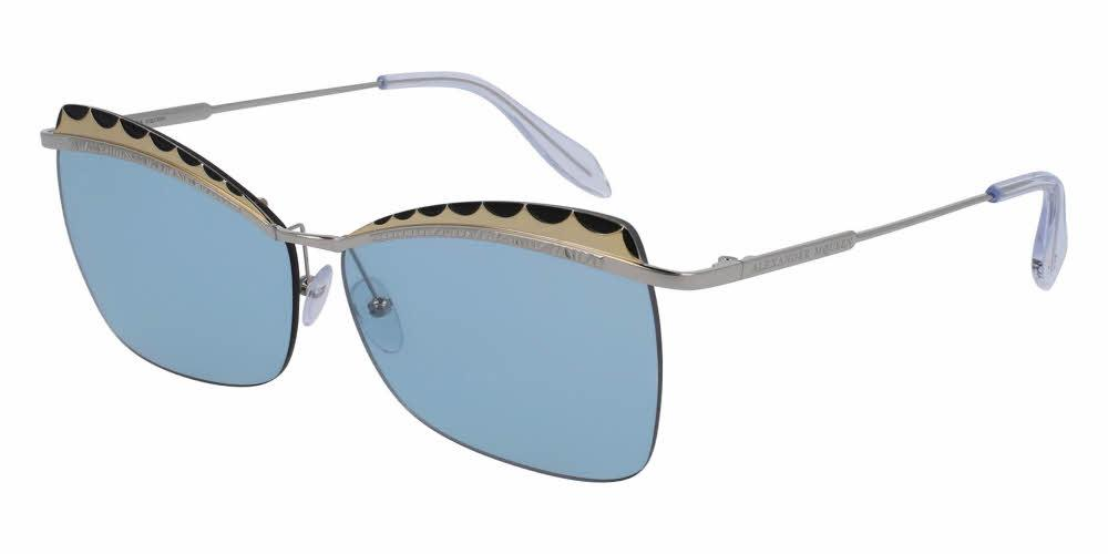 Front and Side View of Alexander McQueen Women's Sunglasses - AM0059S-002 60 SHINY SILVER BLACK ENDURA GOLD SILVER CRYSTAL LIGHT BLUE AZURE NYLON Metal, Acetate