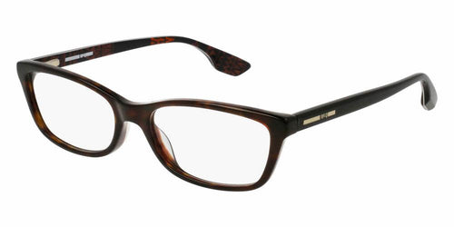 Front and Side View of McQ Women's Eyeglasses - MQ0045O-001 54 SHINY CLASSIC HAVANA AVANA MULTI-COLOR TRANSPARENT Acetate