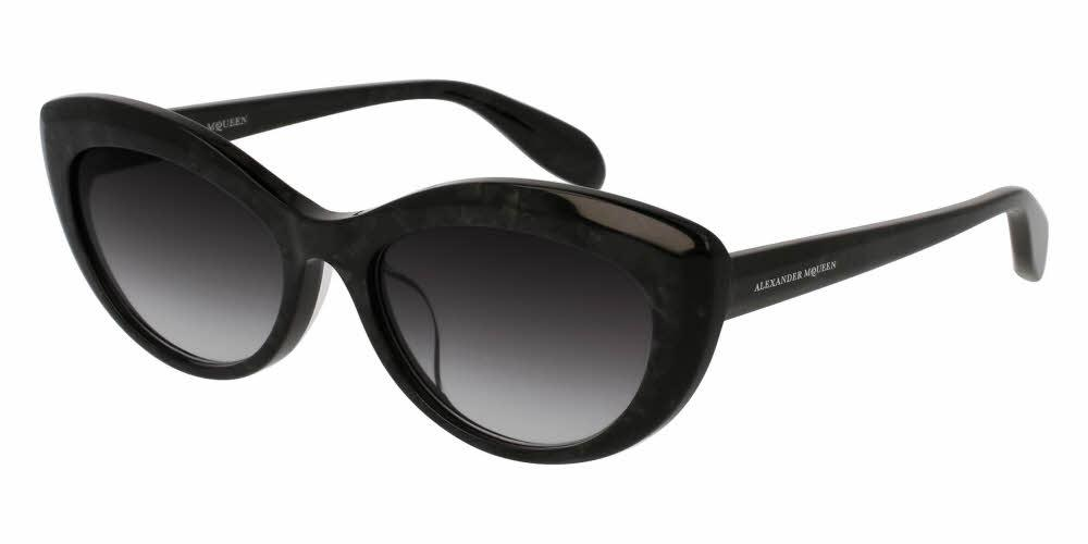 Angled View of Alexander McQueen Women's Sunglasses - AM0040SA-003 55 ANTHRACITE PEARLED SHINY GRADIENT GREY CR 39 Acetate