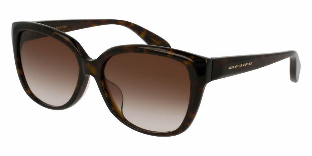 Front and Side View of Alexander McQueen Women's Sunglasses - AM0041SA-002 58 SHINY CLASSIC HAVANA AVANA GRADIENT BROWN CR 39 Acetate