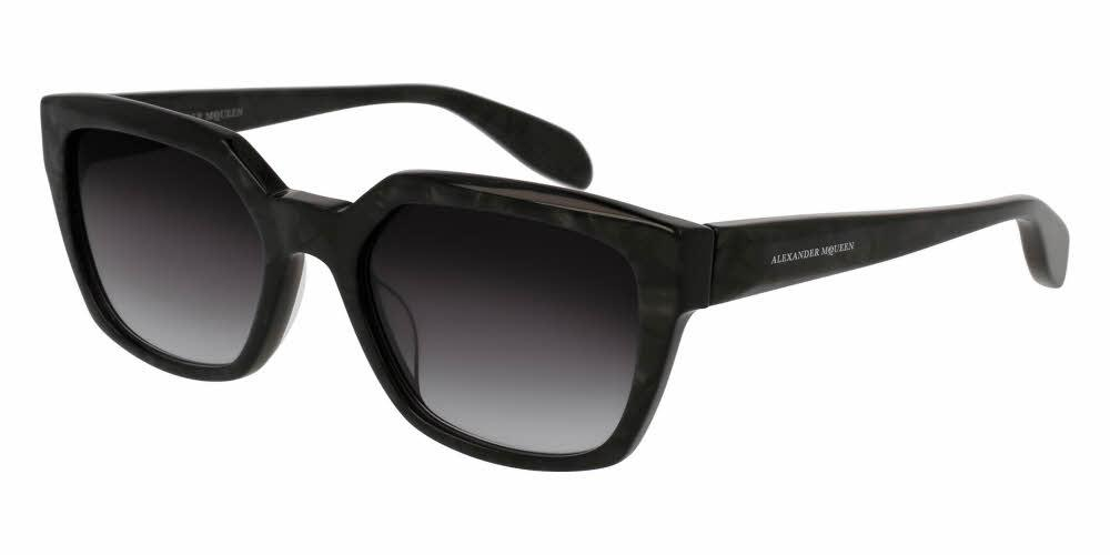 Angled View of Alexander McQueen Women's Sunglasses - AM0042S-004 54 ANTHRACITE PEARLED SHINY GRADIENT GREY CR 39 Acetate