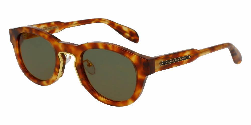 Angled View of Alexander McQueen Unisex Sunglasses - AM0046S-003 50 SHINY COGNAC HAVANA ENDURA GOLD AVANA BROWN SOLID GREEN CR 39 Acetate, Metal