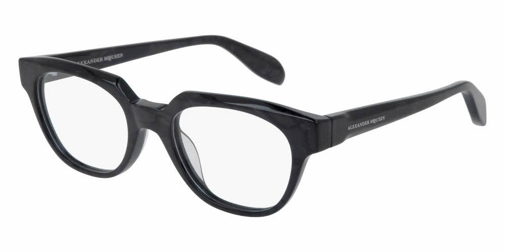 Angled View of Alexander McQueen Unisex Eyeglasses - AM0043O-005 49 SHINY ANTHRACITE PEARL GREY TRANSPARENT Acetate