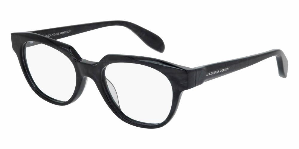 Angled View of Alexander McQueen Unisex Eyeglasses - AM0043O-010 51 SHINY ANTHRACITE PEARL GREY TRANSPARENT Acetate