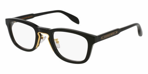 Angled View of Alexander McQueen Unisex Eyeglasses - AM0048O-001 50 SHINY ENDURA GOLD TRANSPARENT Acetate, Metal