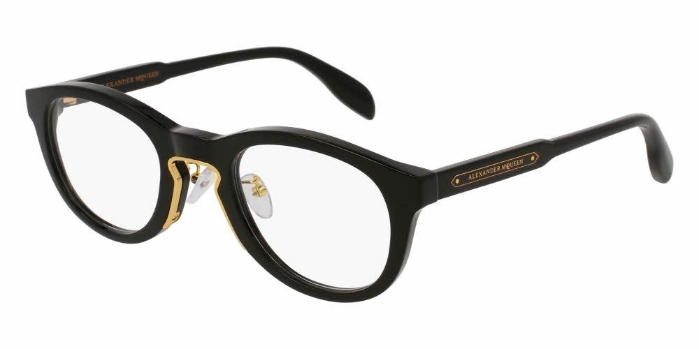 Front and Side View of Alexander McQueen Unisex Eyeglasses - AM0049O-001 49 SHINY ENDURA GOLD TRANSPARENT Acetate, Metal