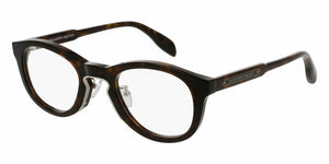 Front and Side View of Alexander McQueen Unisex Eyeglasses - AM0049O-004 49 SHINY CLASSIC HAVANA RUTHENIUM AVANA TRANSPARENT Acetate, Metal
