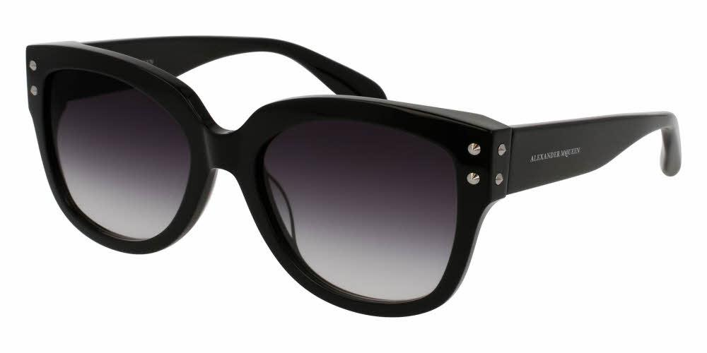 Front and Side View of Alexander McQueen Women's Sunglasses - AM0051S-001 57 SHINY BLACK SHADED SMOKE CR 39 Acetate