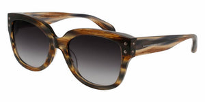 Front and Side View of Alexander McQueen Women's Sunglasses - AM0051S-002 57 BROWN HAVANA AVANA GREY SHADED SMOKE CR 39 Acetate