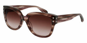 Front and Side View of Alexander McQueen Women's Sunglasses - AM0051S-003 57 VIOLET STRIPED HAVANA AVANA PURPLE SHADED BROWN CR 39 Acetate