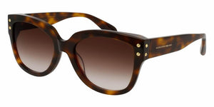Front and Side View of Alexander McQueen Women's Sunglasses - AM0051S-004 57 SHINY HAVANA AVANA LIGHT SHADED BROWN CR 39 Acetate