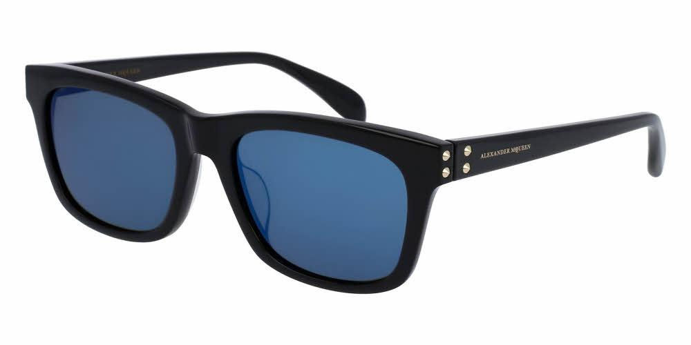 Angled View of Alexander McQueen Unisex Sunglasses - AM0065SK-004 56 SHINY BLACK MIRROR BLUE CR 39 Acetate