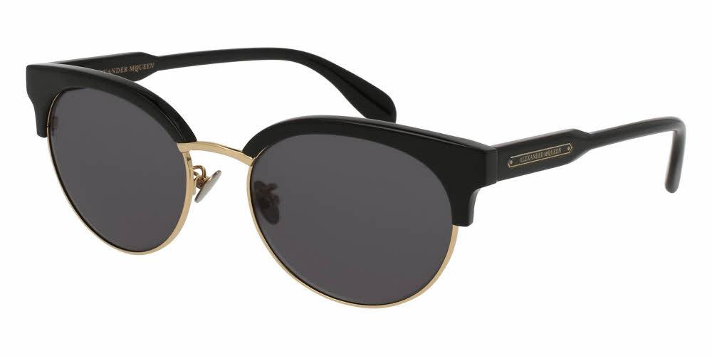 Front and Side View of Alexander McQueen Unisex Sunglasses - AM0066SK-001 56 SHINY ENDURA GOLD SOLID GREY CR 39 Acetate, Metal