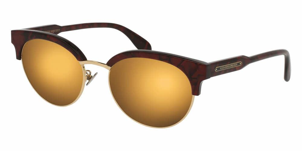 Angled View of Alexander McQueen Unisex Sunglasses - AM0066SK-003 56 SHINY RED MARBLE ENDURA MIRROR GOLD CR 39 Acetate, Metal