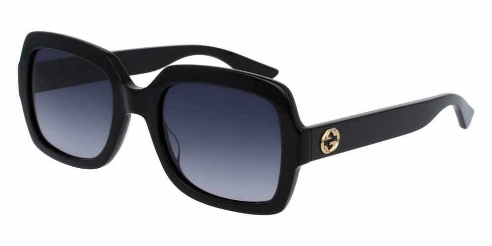 Front and Side View of Gucci Women's Sunglasses - GG0036S-001 54 SHINY BLACK SHADED GREY NYLON Acetate, Optyl