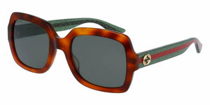 Front and Side View of Gucci Women's Sunglasses - GG0036S-003 54 SHINY BLOND HAVANA AVANA RED GREEN NYLON Acetate, Optyl