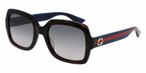 Front and Side View of Gucci Women's Sunglasses - GG0036S-004 54 SHINY DARK HAVANA AVANA RED SHADED BROWN NYLON Acetate, Optyl