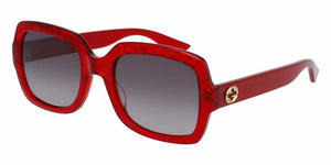 Front and Side View of Gucci Women's Sunglasses - GG0036S-005 54 SHINY RED GLITTER SHADED BROWN NYLON Acetate, Optyl
