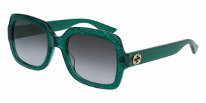 Front and Side View of Gucci Women's Sunglasses - GG0036S-006 54 SHINY EMERALD GREEN GLITTER SHADED GREY NYLON Acetate, Optyl